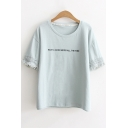 Simple Letter HAVE A GOOD MOOD ALL THE TIME Fringed Hem Short Sleeve Cotton Tee