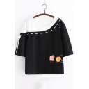 Girls Lovely Cartoon Printed Colorblock Loose Relaxed T-Shirt