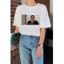 Summer Funny Figure Printed Short Sleeve Basic Casual White T-Shirt