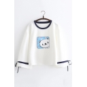 Cute Cartoon Cat Print Bow-Tied Cuff Long Sleeve Pullover Loose T-Shirt