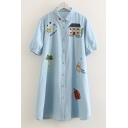Cartoon House Embroidery Short Sleeve Light Blue Button Down Longline Shirt