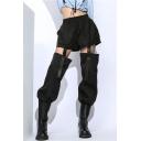 Women's Cool Street Fashion Elastic Waist Buckle Cut Out Drawstring Cuff Black Military Harem Pants