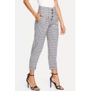 New Stylish Grey Plaid Printed Button-Fly Capri Pants for Women