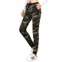 Cool Fashion Army Green Camo Printed Drawstring Waist Slim Fit Trousers Pants for Women
