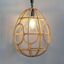 Egg Shape Living Room Ceiling Light Rope Single Light Rustic Style Pendant Light in Beige