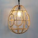 Egg Shape Living Room Ceiling Light Rope Single Light Rustic Style Pendant Light in Beige