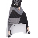 Womens Hip Hop Street Fashion Unique Patchwork Drop-Crotch Baggy Harem Pants