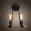 Rustic Style Open Bulb Wall Lamp Metal and Rope 2 Lights Black Wall Sconce Light for Restaurant Bar