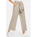 Womens New Trendy Solid Color Tied Waist Wide-Leg Suit Pants Trousers