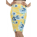 Summer Trendy Yellow Floral Printed Split Back Mini Bodycon Skirt
