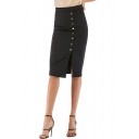 New Trendy High Waist Side Button Down Solid Color Midi Black Pencil Skirt for Office Lady