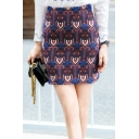 Ethnic Style Retro Pattern Blue Mini A-Line Bodycon Skirt