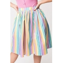 Chic Colorful Stripe Printed Mini A-Line Swing Skirt for Women