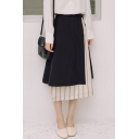 Trendy Striped Pattern Patched Detail Bow-Tied Side High Rise Midi A-Line Skirt