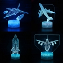 4 Airplane Pattern 3D Bedside Light 7 Color Changing Remote Control LED Night Lamp with Touch Sensor for Home Decor