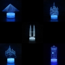 Touch Sensor 3D Night Light 7 Color Charging Remote Control Building Bedside Lamp for Birthday Gifts