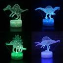 4 Jurassic Dinosaur Pattern 3D Night Light Boy Bedroom 7 Color Changing LED Bedside Light with Touch Sensor
