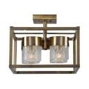 4 Lights Cylinder Shape Ceiling Light Industrial Metal and Dimpled Glass Semi Flush Ceiling Light for Bedroom Dining Room