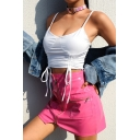 Girls Summer New Stylish Simple Plain Drawstring Cropped Cami Top