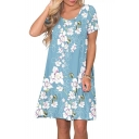 Light Blue Floral Printed Round Neck Short Sleeve Mini Swing Dress