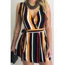 Summer Chic Colorful Stripe Printed V-Neck Sleeveless Tied Waist Mini A-Line Dress