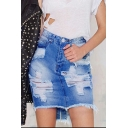 Women's High Rise Distressed Ripped Fringed Hem Mini Blue Bodycon Denim Skirt