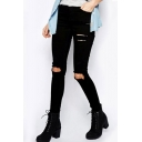 Popular Fashion Destroyed Knee Hole Black Slim Fit Ripped Jeans