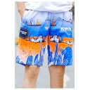 Summer Comfort Cotton Quick Drying Stylish Pattern Beach Swim Trunks