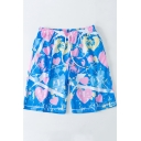 Mens Funny Blue Heart Printed Quick Dry Drawstring Swim Trunks Board Shorts