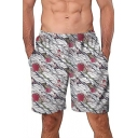 New Quick Dry Men's Floral Swim Trunks with Lined Side Pockets