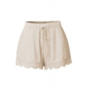 Girls Summer Simple Plain Drawstring Waist Lace Trim Relaxed Fit Shorts