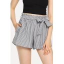 Hot Fashion Bow-Tied Waist Vertical Stripe Printed Grey Culotte Shorts for Women