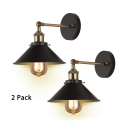 Industrial Cone Wall Light 2 Pack 1 Light Metal Wall Lamp in Black for Bedroom Dining Room