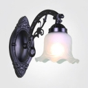 Vintage Style Flower Shade Sconce Light Metal Frosted Glass 1/2 Lights White/Black Wall Lamp for Bedroom