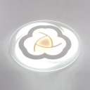 Metal Acrylic Slim Panel Light Fixture White Flower Shape Flush Mount Light in White/Warm for Kids Bedroom