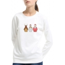 Cute Cartoon Santa Claus Basic Crewneck Long Sleeve Pullover Sweatshirt