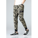 Cool Camo Printed Drawstring Waist Patch Side Pockets Cotton Cargo Pants
