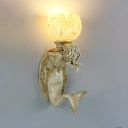 Tiffany Style Globe Shade Sconce Light Resin Glass Wall Light with Shell and Mermaid Decoration for Foyer