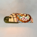 Stained Glass Banker Lamp Study Bedroom Tiffany Style Rustic Sconce Light with/without Pull Chain