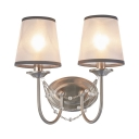 Tapered Shade Sconce Light 2 Lights Traditional Fabric Metal Wall Lamp with Crystal Decoration for Hotel