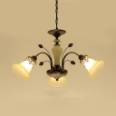 Frosted Glass Metal Chandelier Living Room 3/5/6/8 Lights Rustic Style Bell Shade Hanging Light with Fake Leaf Decoration