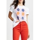 Trendy Geometric Printed White Round Neck Short Sleeve Tee