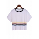 Contrast Round Neck Colorful Striped Printed Short Sleeve Cropped Tee
