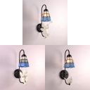 Tiffany Style Dome Sconce Light Resin and Stained Glass 1 Light Wall Lamp with Angel/Bird Decoration
