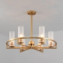 6/8/10 Lights Cylinder Chandelier Classic Glass and Metal Suspension Light for Restaurant Dining Room