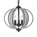 Antique Style Melon Shape Chandelier Metal 3/5 Lights Black/Gold Hanging Light with Crystal Decoration for Bedroom