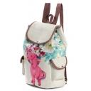 Unique Unicorn Floral Pattern Linen Khaki Backpack with Side Pockets 28*11*39 CM