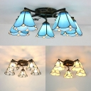 Tiffany Style Semi Flush Mount Light 5 Lights Beige/Blue/Clear Glass Light Fixture for Foyer