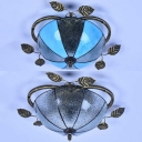 Antique Domed Flush Mount Light 2 Lights Clear/Blue Glass Ceiling Light for Bedroom