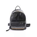 Unique Glamorous Print Embroidery Black PU Leather Backpack 26*14*27.5 CM